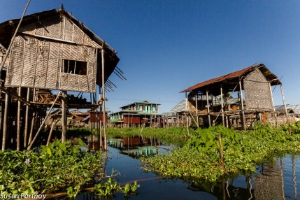 Stilted homes of Inle Lake's villagers are laid out in a grid, like any suburb, except this one sits on a lake.