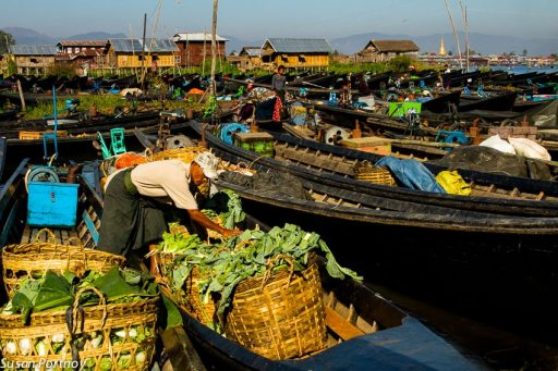 The markets on Inle Lake rotate villages to give everyone an opportunity to partake. This shot was taken in the makeshift marina created by all the vendors and villagers.