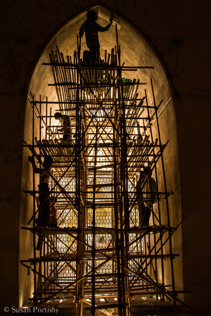 Stunning Silhouette Photos Guaranteed to Inspire Your Travels--Men, working on a rickety, handmade scaffolding, repair a temple in Old Bagan, Myanmar.