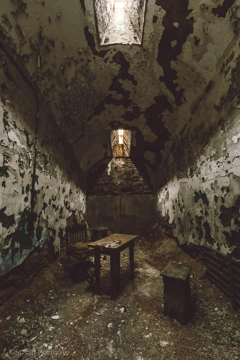 Inside an old cell in Eastern State Penitentiary