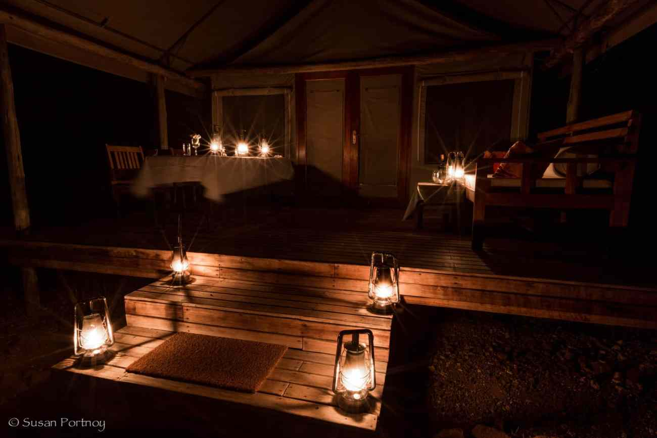 My tent set up for dinner at Desert Rhino Camp, Namibia