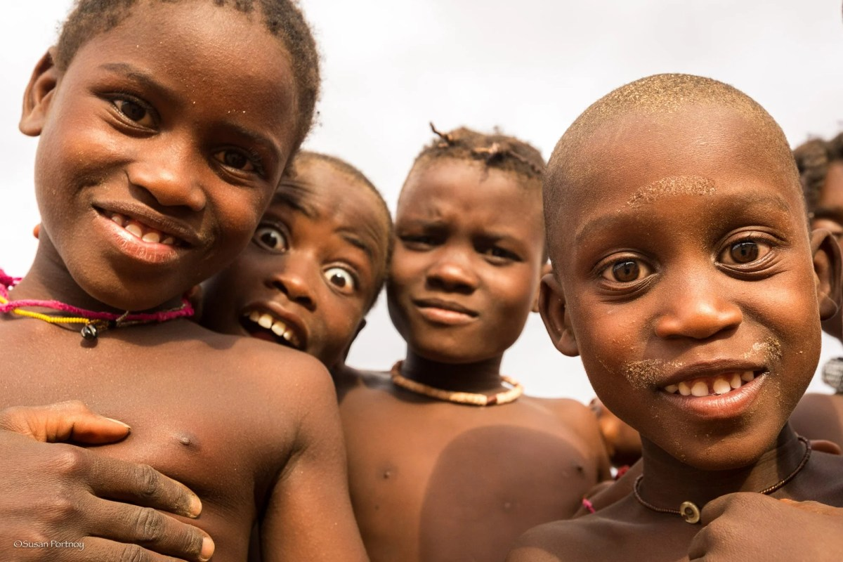 Himba children in Namibia near Serra Cafema Camp