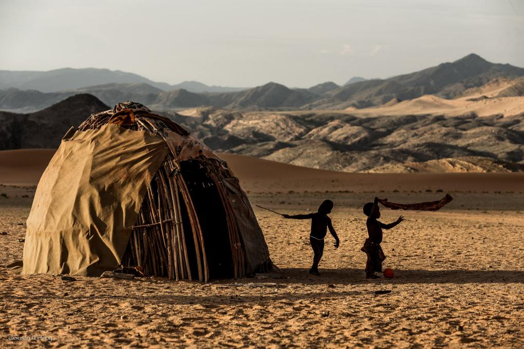 Himba children play in their village near Serra Cafema in Namibia