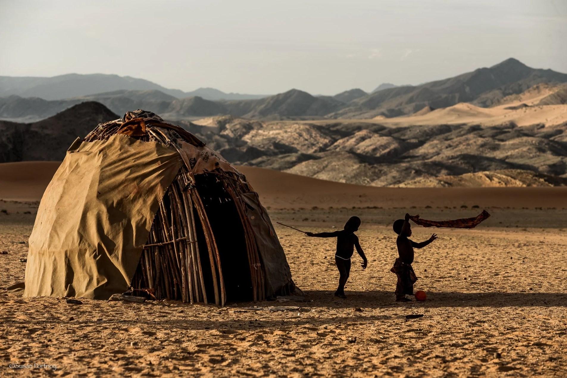 Himba children play in their village near Serra Cafema in Namibia