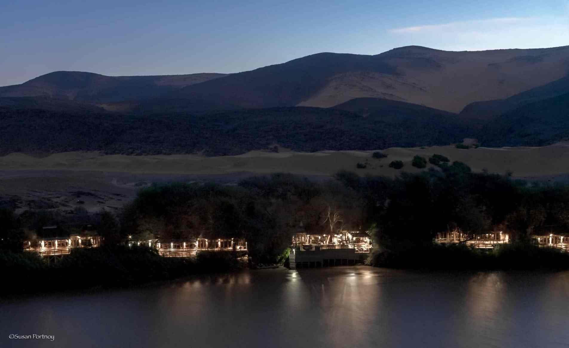 Serra Cafema Camp as viewed from Angola