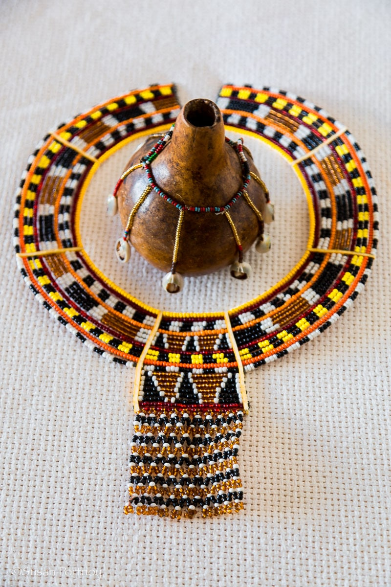 A handmade necklace and decorative gourd created by the Samburu tribe - All you need to know to plan the best safari in Kenya
