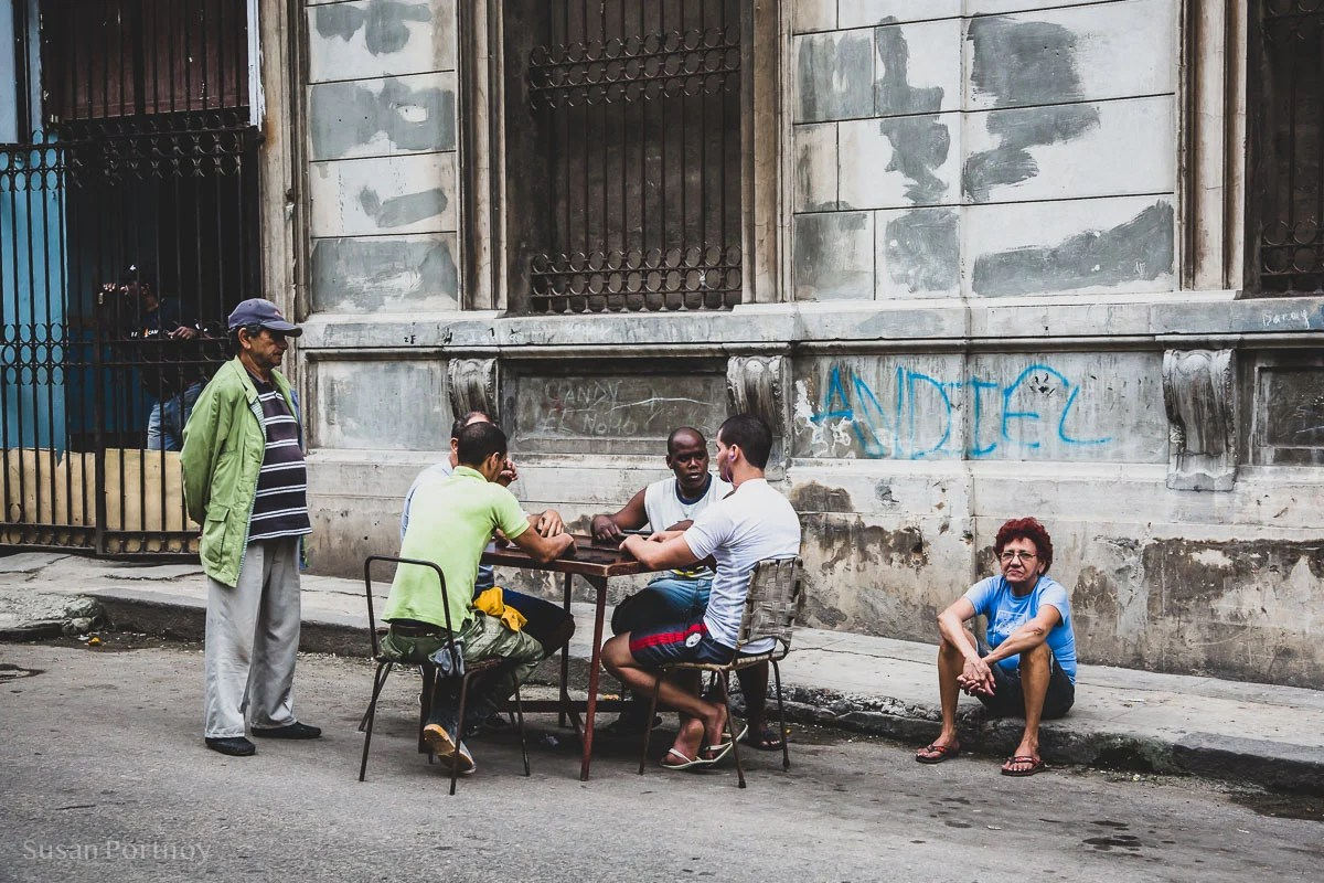 People playing cards on the streets of Havana