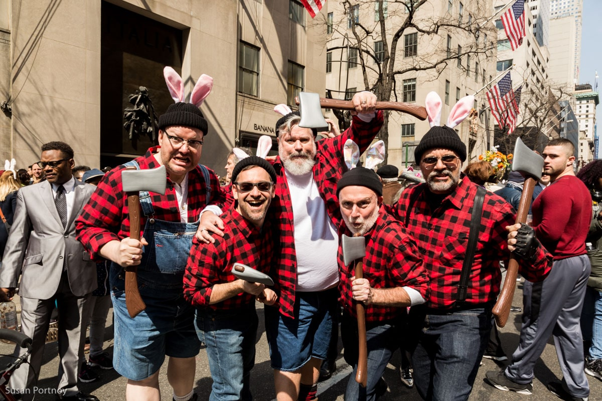 Men in lumbar jack outfits in the Easter Parade New York City 2016