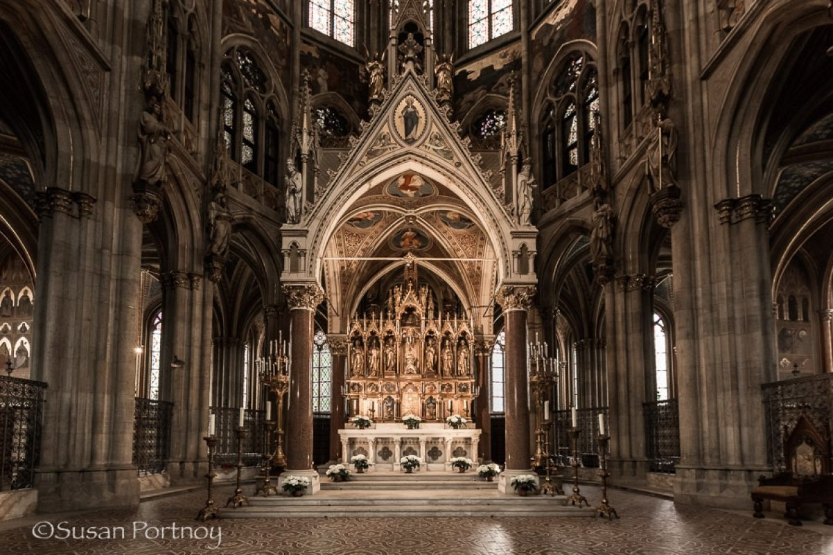 Photographing Votive Cathedral interior in Vienna, Austria