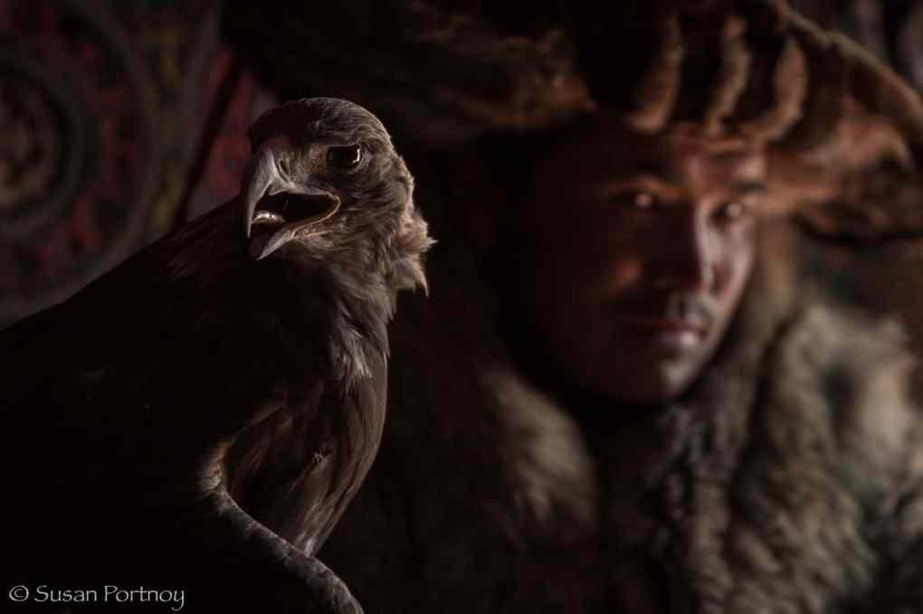Eagle hunter in traditional attire inAltai Tavan Bogd National Park, Mongolia-092214