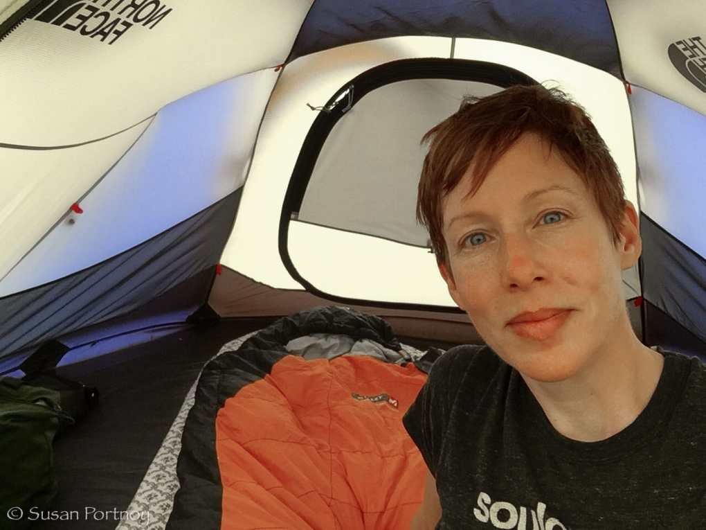 Susan Portnoy in a The North Face tent inAltai Tavan Bogd National Park, Mongolia-302