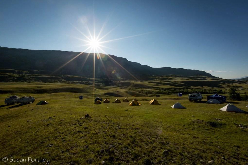 Camp site in Altai Tavan Bogd National Park, Mongolia