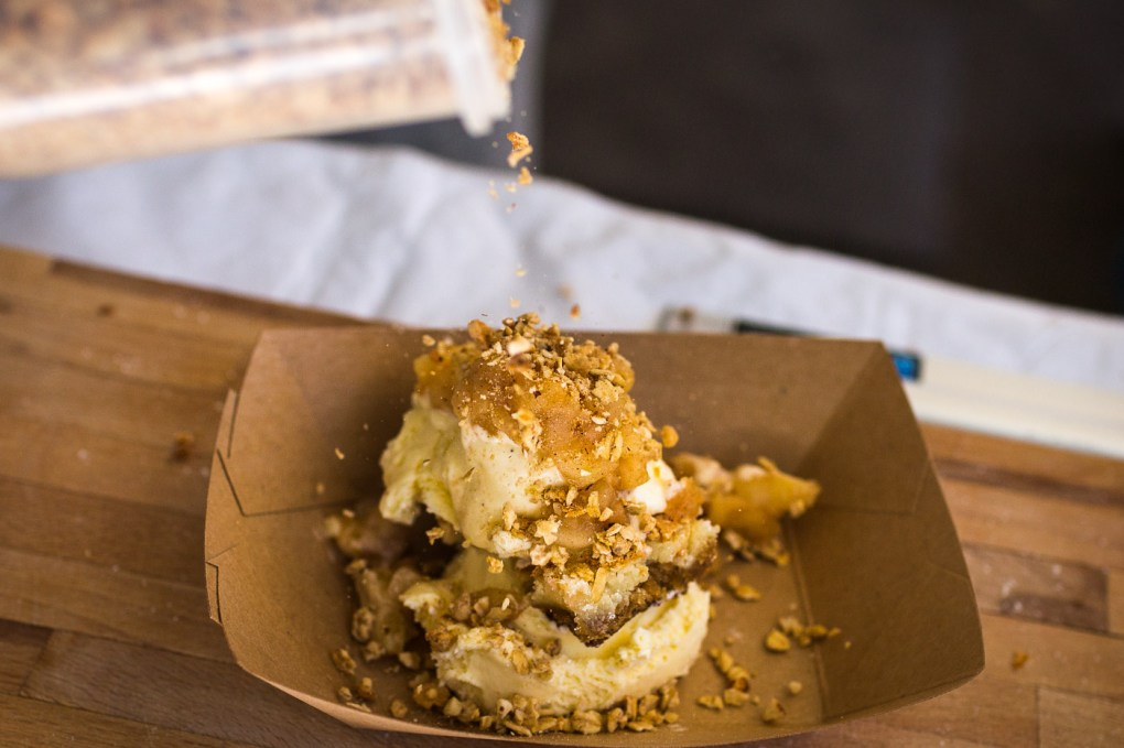 A bite-sized butter cake with ice-cream, caramel and nuts at Brooklyn's Smorgasburg -The Insatiable Traveler