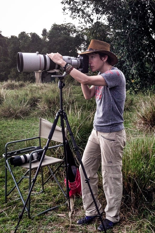 Photographer Susan Portnoy, with a Canon 200-400mm lens and 1DX
