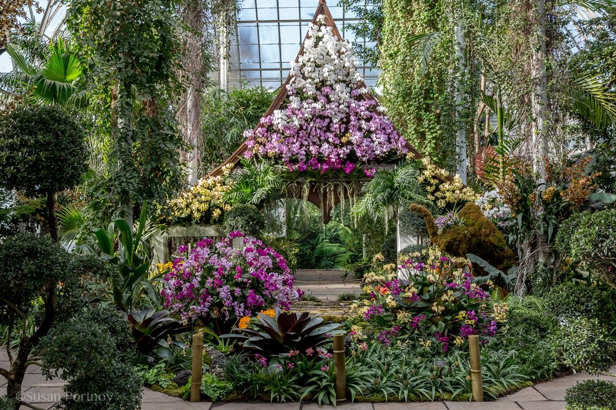 Pavillion facade in the orchid show: Thailand at the NY Botanical Garden
