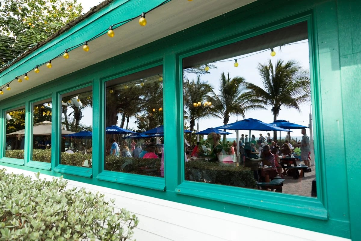 Window reflection of Mucky Duck on Captiva Island, Florida
