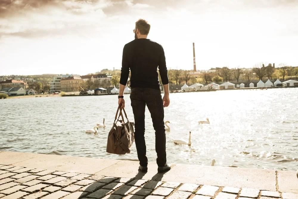Man traveling alone