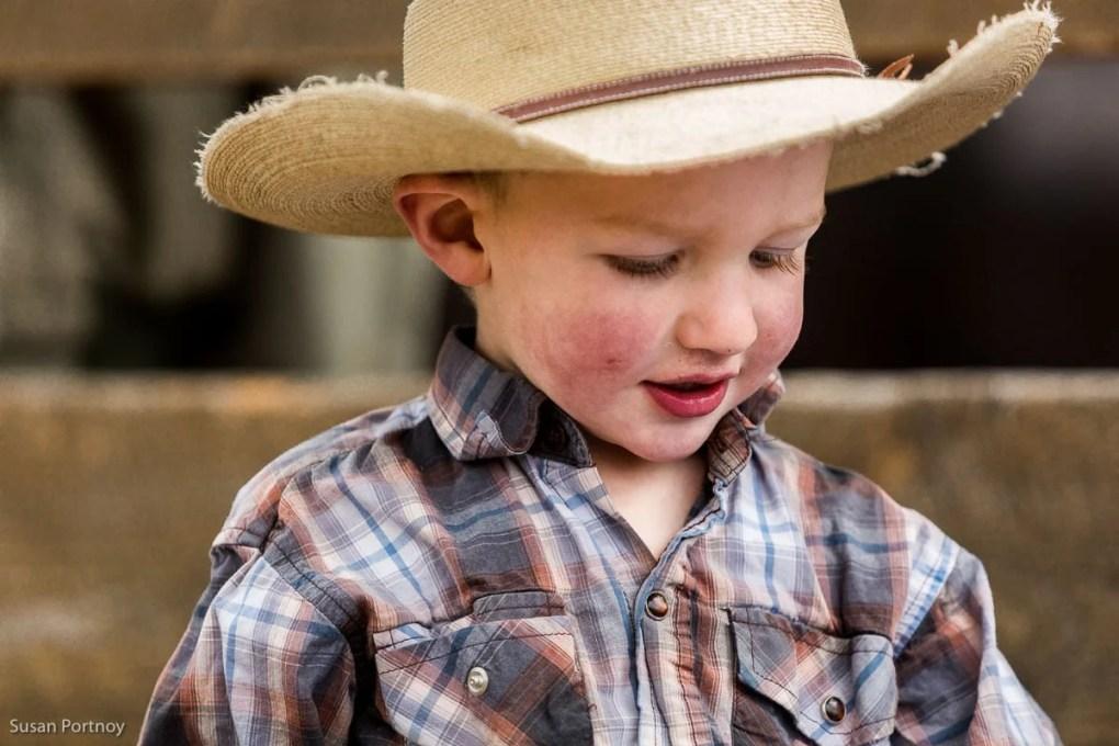 Little boy wearing cowboy hat