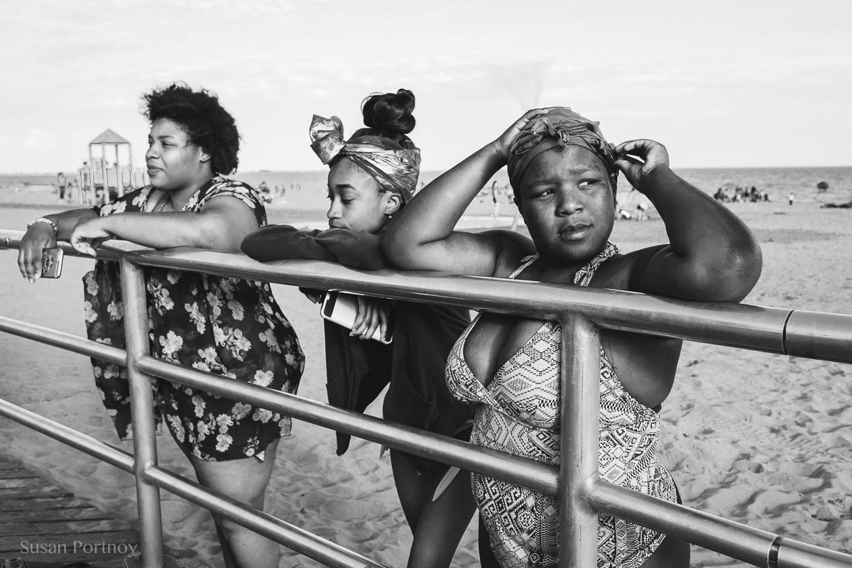 girls in bathing suits at Coney Island - Peter Turnley Street Photography Workshop