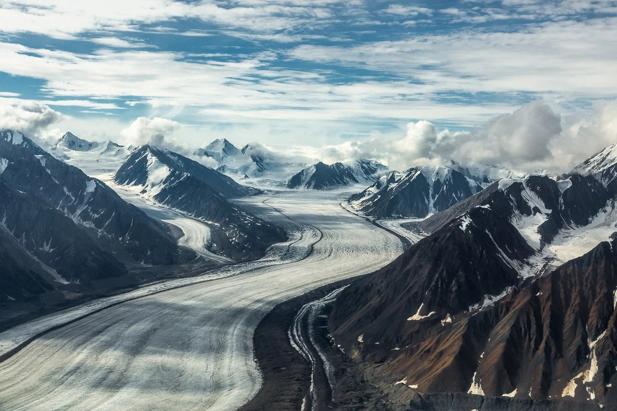 Looking down the glacier down towards the icefield--Kaskawulsh glacier in Yukon's Kulane National Park-1084