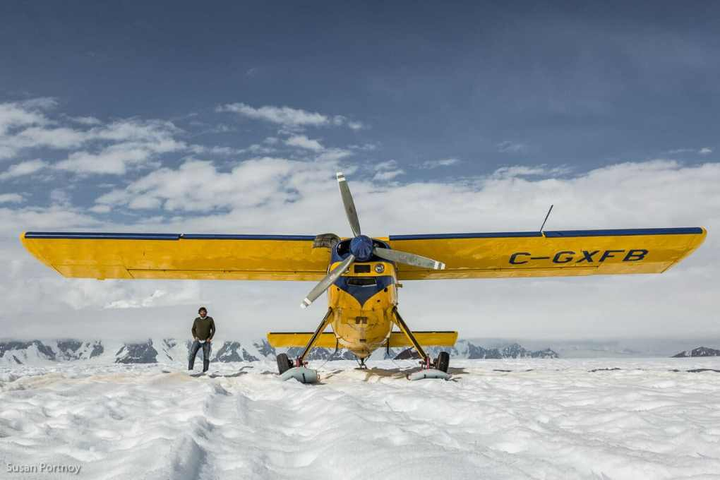 The pilot, Sherpal Singh and the fabulous Helio Courier Aircraft.--Kaskawulsh glacier in Yukon's Kulane National Park-1178