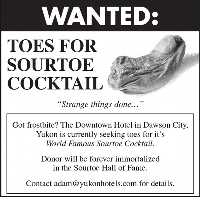 SourToe donation, Sourdough Saloon in Dawson, City