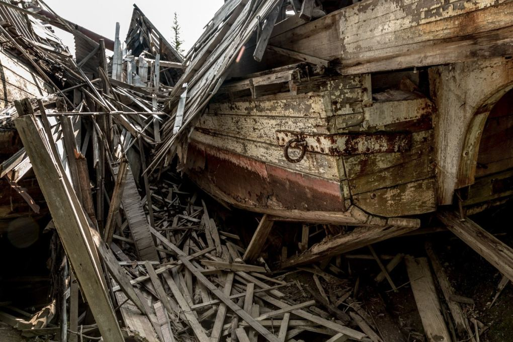 Pieces of a boat --Exploring Sternwheeler Graveyard Dawson City, Yukon