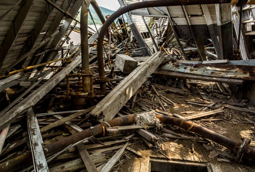 Engine room - Exploring Sternwheeler Graveyard Dawson City, Yukon