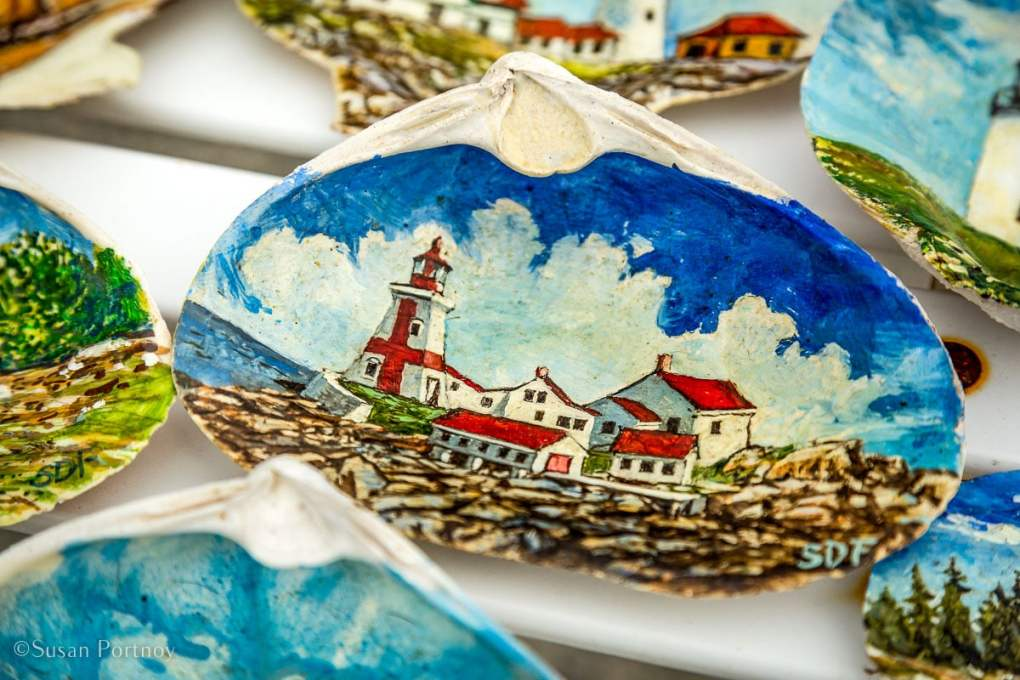 Hand-painted scallop shells from the Brooksville green market - Windjammer cruise in Maine-544220180703
