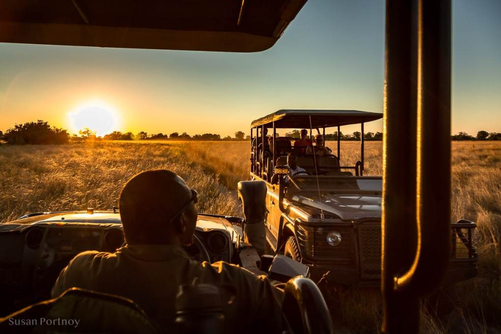 Passing another vehicle on the way to our sundowner spot - Duba Explorers Camp Okavango Delta, Botswana-976701