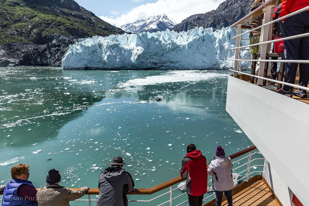 Passengers gawk at the Margerie Glacier in Glacier Bay.  - Lessons Learned on an Alaskan Cruise -406720180605-2