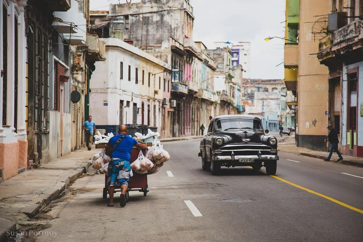 Man sells bread in Central Havana, Cuba