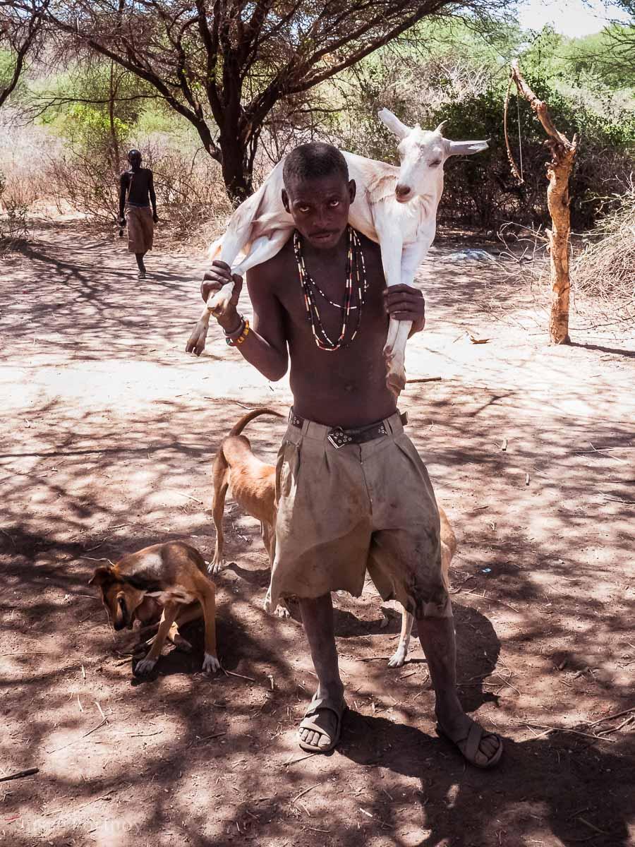 Hadzabe man with my goat