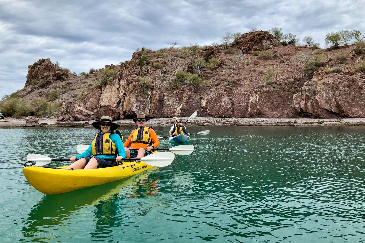 Kayakers on the Bay of Agua Verde while cruising in the Sea of Cortez