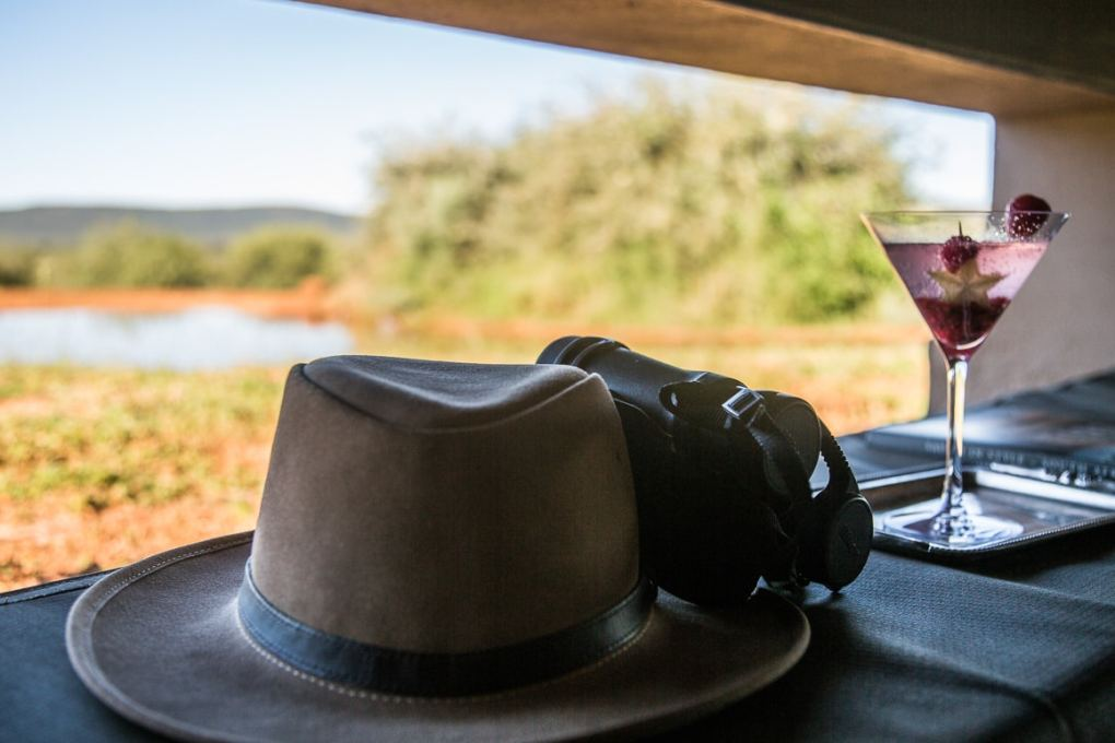 View to elephants from the hide at Molori Safari Lodge in South Africa
