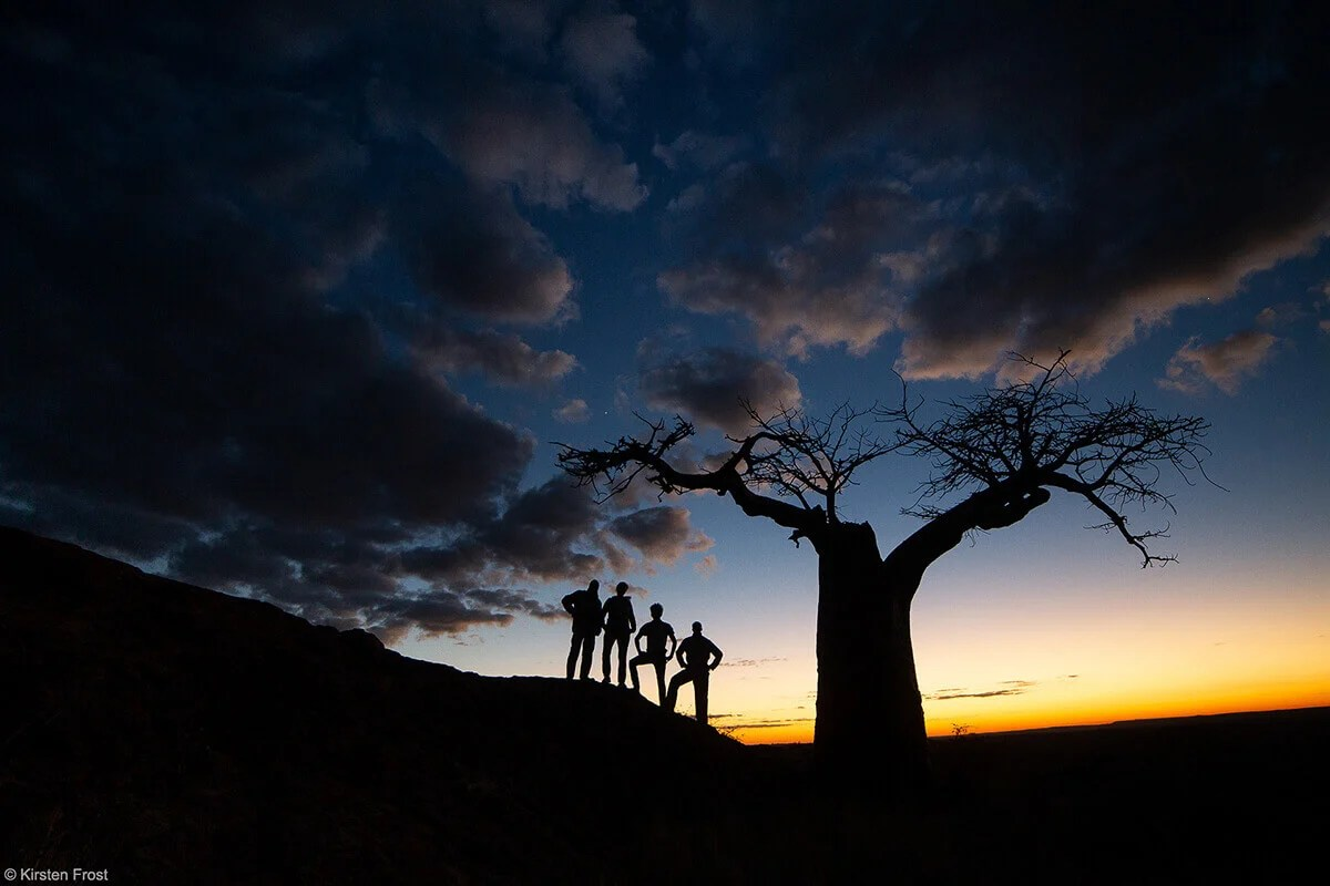 Silouettes of people in Botswana