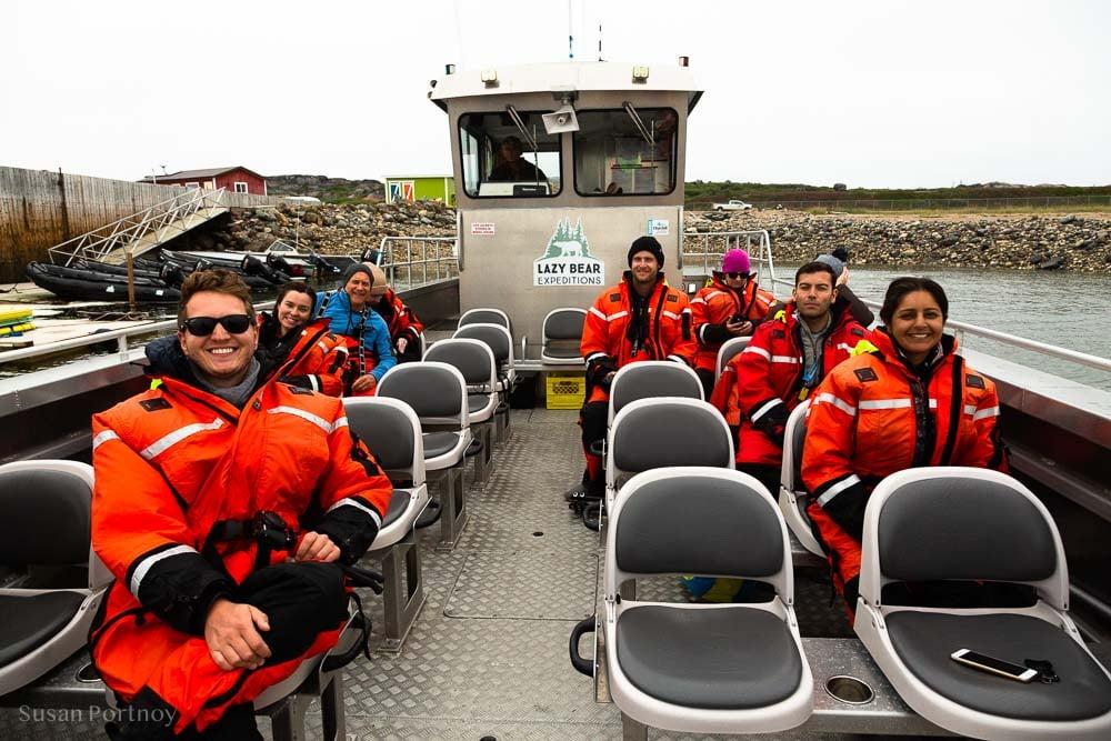 The gang aboard the Sam Hearne boat in Manitoba
