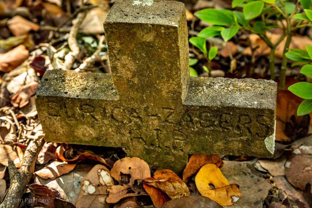 A grave of a child on the Mary's Point trail on Saba Island