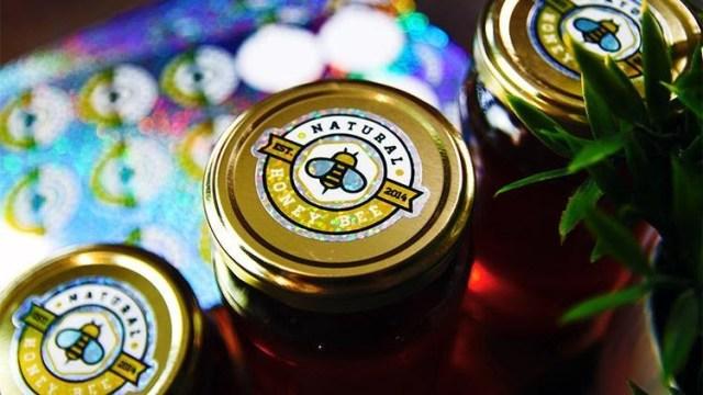 Glitter honey jar labels