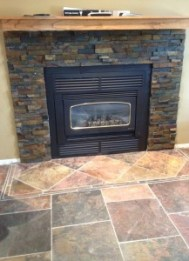 Interior Stone and Tile work around fireplace and slate floor