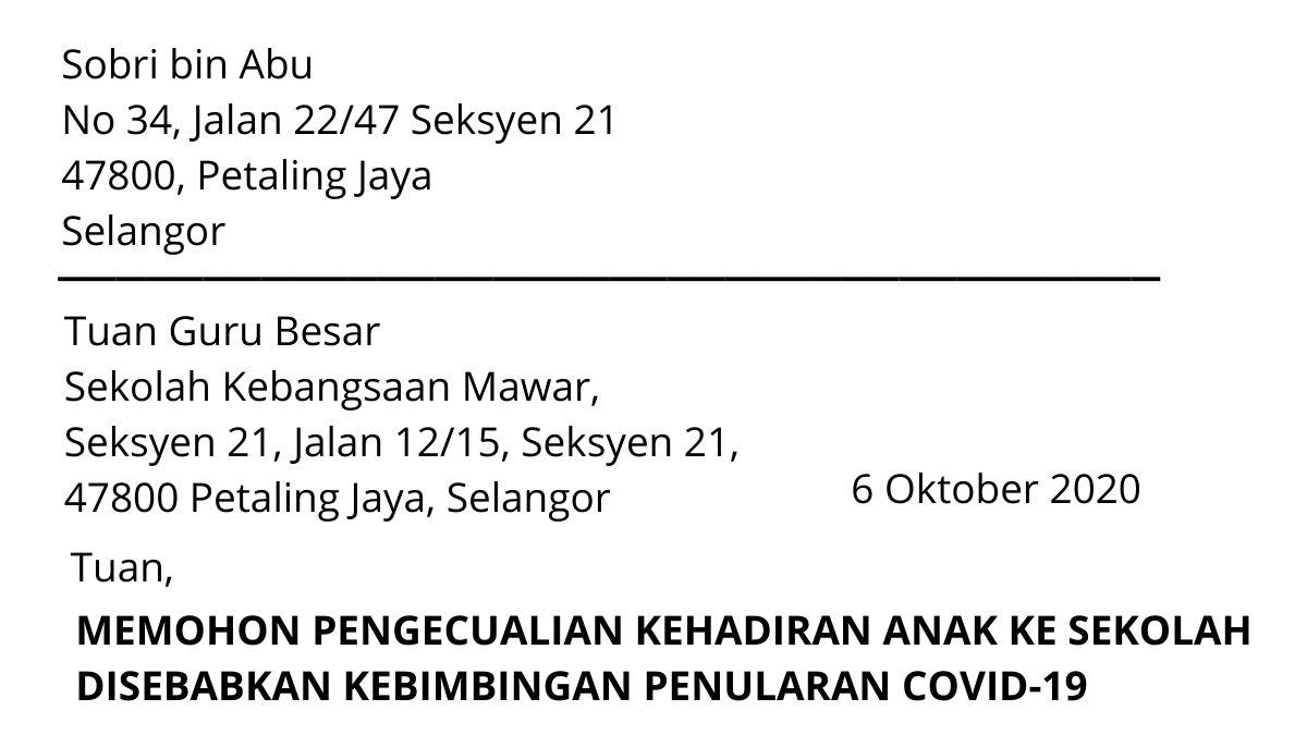 Contoh Surat Tidak Hadir Ke Sekolah Bimbang Covid19