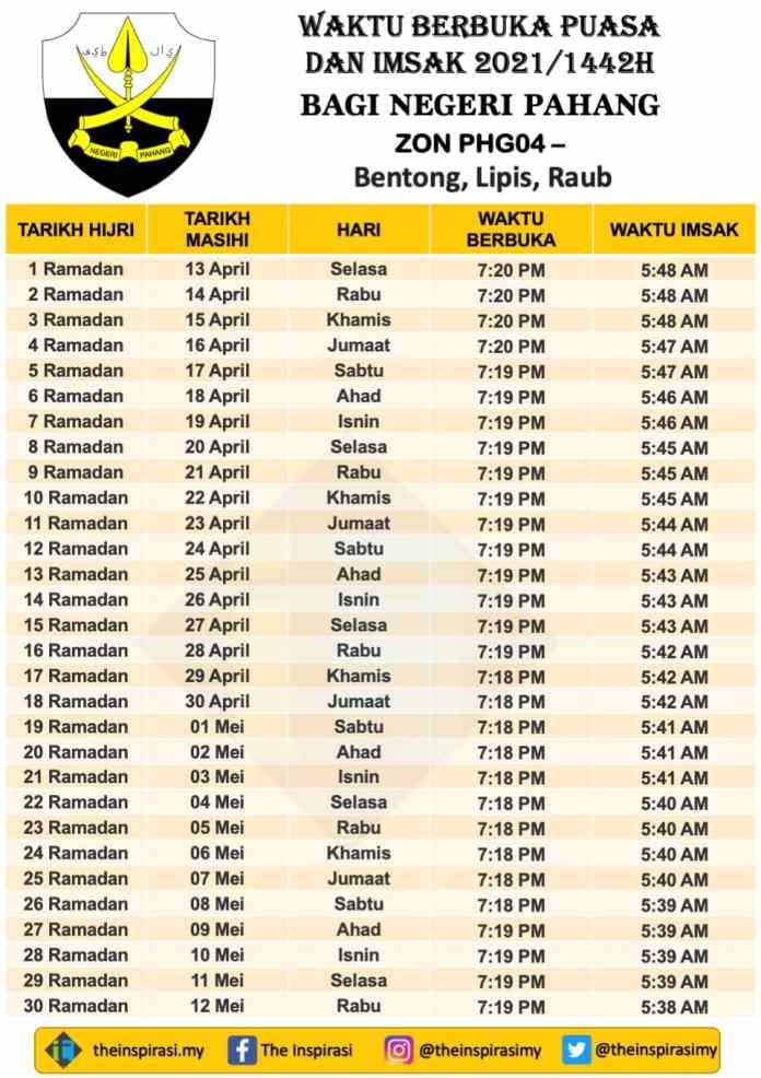 Pahang Zon 4- Bentong - Lipis - Raub - Waktu Berbuka Puasa dan Imsak 2021