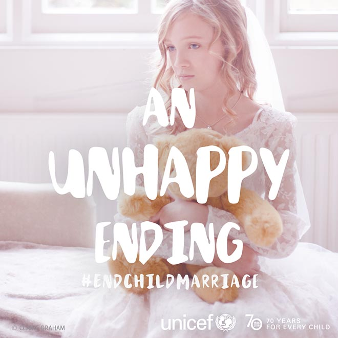 UNICEF Unhappy Ending child marriage Instagram photo