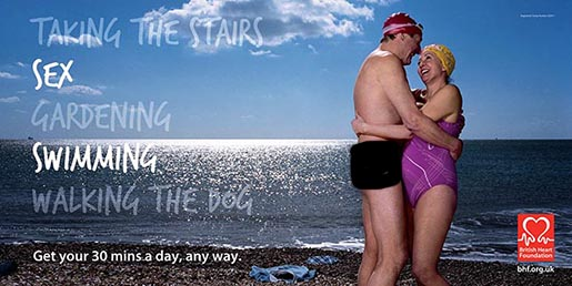 Naked man and female swimmer in BHF poster