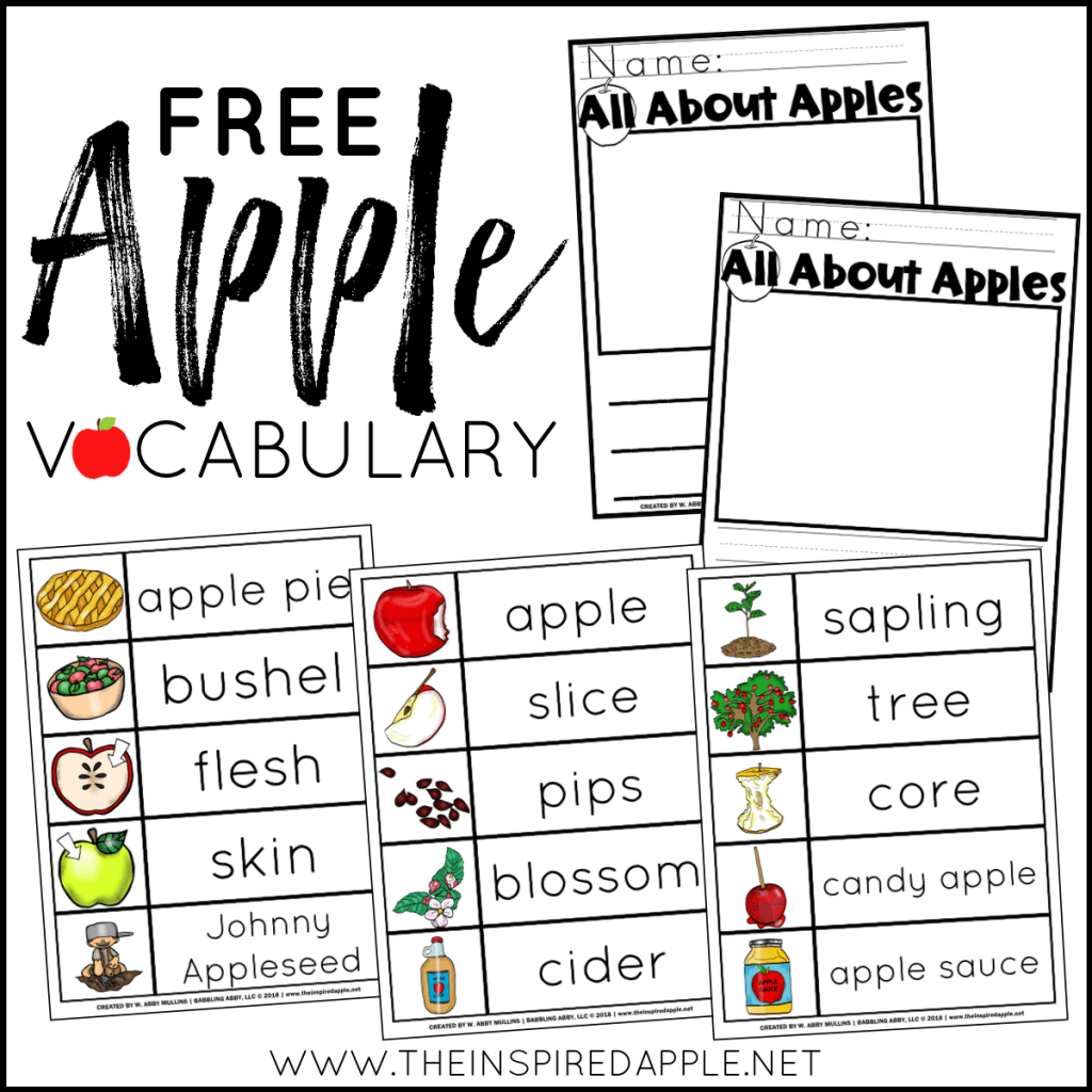 Apple Vocabulary Free Printable