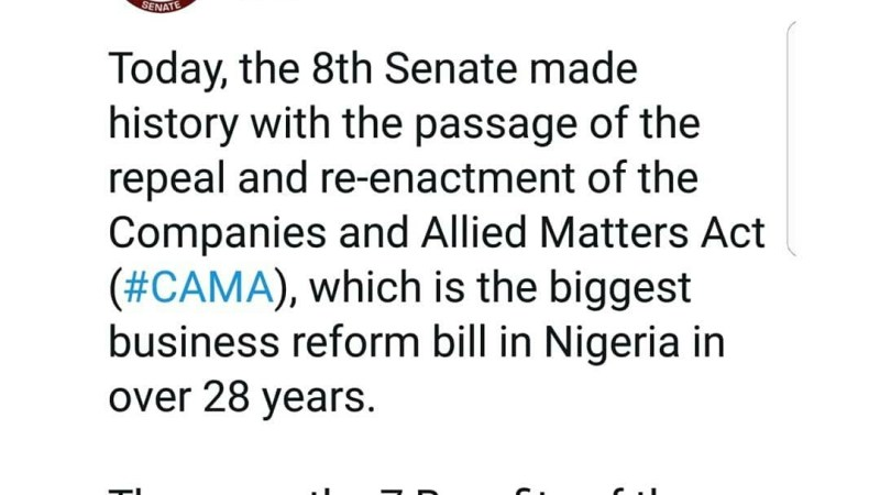 The Nigerian Senate passes CAMA bill to stimulate business growth