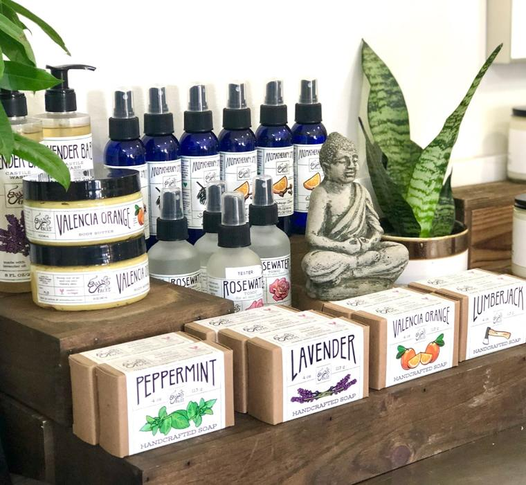 soaps and sprays on display at The Inspired Garden Studio in Maplewood