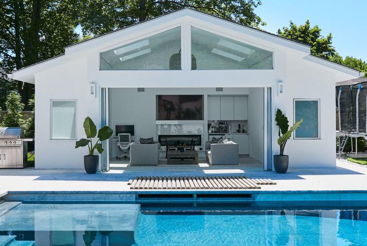 backyard pool garden in Maplewood New Jersey
