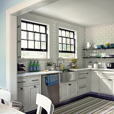 Love Striped Rugs in White Kitchens  The Inspired Room