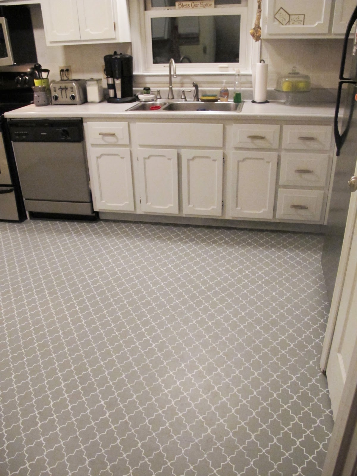 Stenciled Kitchen Subfloor Back to Domestics  The